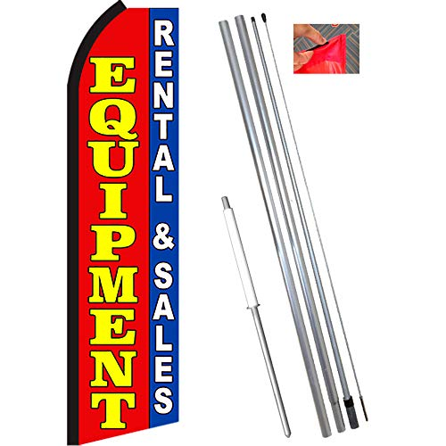 EQUIPMENT RENTAL & SALES (Red/Blue) Flutter Feather Flag Bundle (11.5' Tall Flag, 15' Tall Flagpole, Ground Mount Stake)