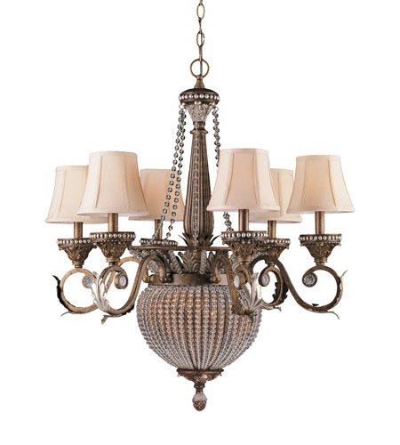 Chandeliers 6 Light with Weathered Patina Crystal Beads Wrought Iron 28 inch 360 Watts - World of ()