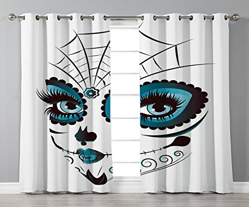 Thermal Insulated Blackout Grommet Window Curtains,Skull,Graphic of Cute Dead Skull Teen Girl Face with Make Up and Ornate Design Print,Peacock White,2 Panel Set Window Drapes,for Living Room Bedroom ()