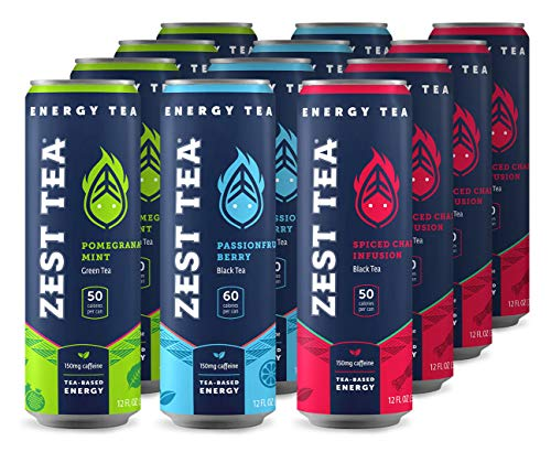 - Zest Tea Energy Iced Tea, High Caffeine Low Sugar Blend Natural & Healthy Black Coffee Substitute, 150 mg Caffeine per 12 Oz Can, Trifecta (Variety Pack), 12 Pack
