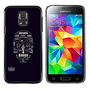 Paccase / Dura PC Caso Funda Carcasa de Protección para - Skull Numbers Death Time Skeleton Art - Samsung Galaxy S5 Mini, SM-G800, NOT S5 REGULAR!