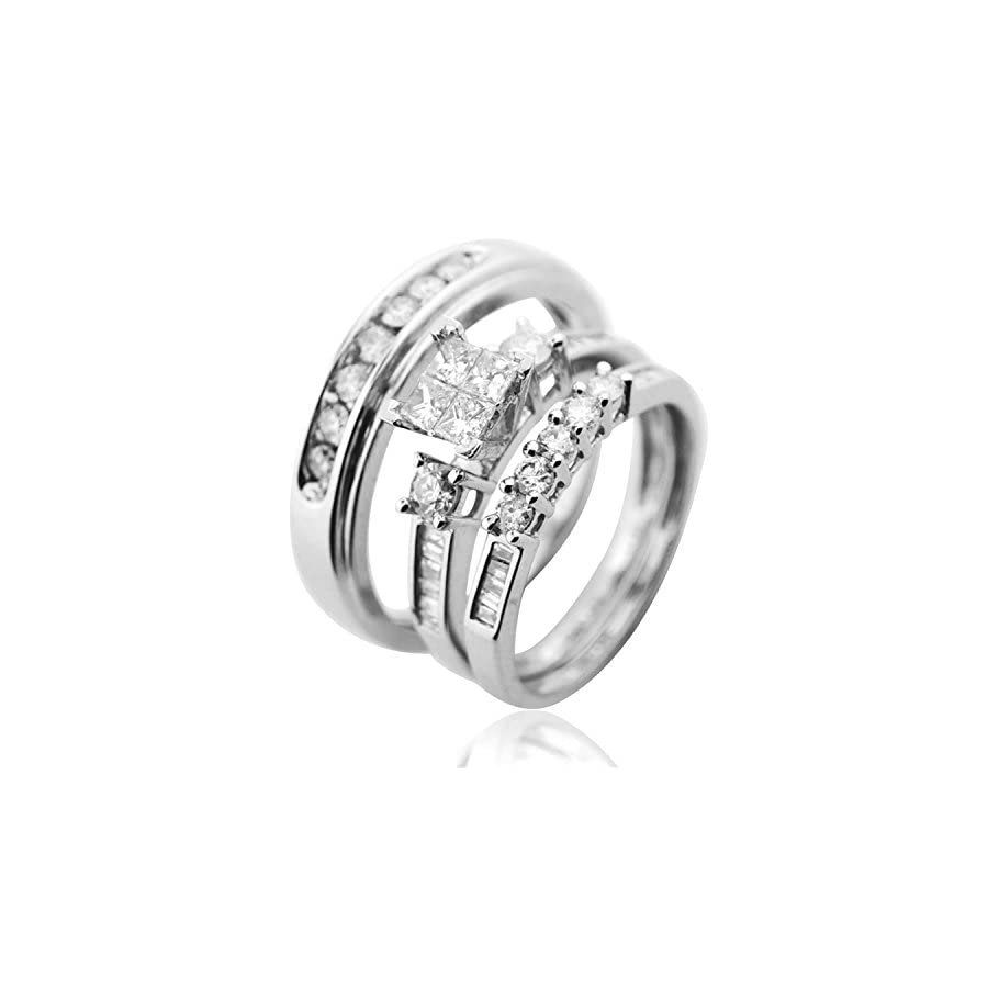 Midwest Jewellery Trio Wedding Ring Set His and Her Rings White Gold Real Diamonds Princess 0.75ct(i2/i3, i/j