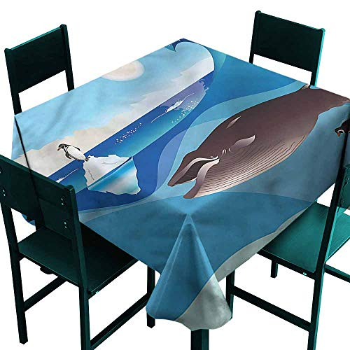 - DONEECKL Dust-Proof Tablecloth Whale Penguin Wave in Pole Party W50 xL50