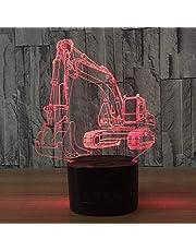 3D grävmaskin lastbil bil nattlampa bordslampa dekor bord skrivbord optisk illusion lampor 7 färger byter lampor LED bordslampa jul hem