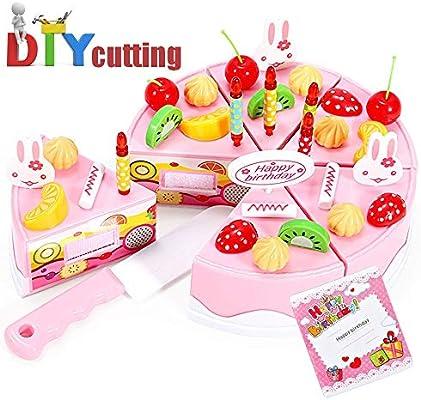 Daypicker Corte Juguete Niños Plástico Pastel de cumpleaños, Juguete Alimentos Juguete Set Adecuado para Niños y Niñas DIY 38 Accesorios Juguetes de ...