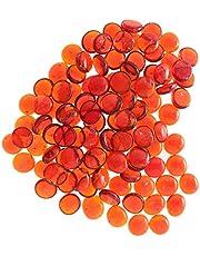 100Pcs Premium Glass Marbles Solid Aquarium Pebbles Vase Filler Crystal Beads Table Scatter Orange