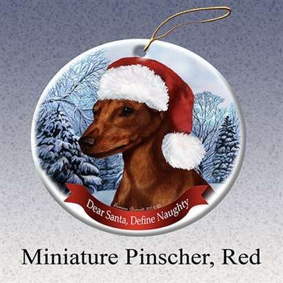 Holiday Pet Gifts Min Pin (Red) Santa Hat Dog Porcelain Christmas Tree Ornament