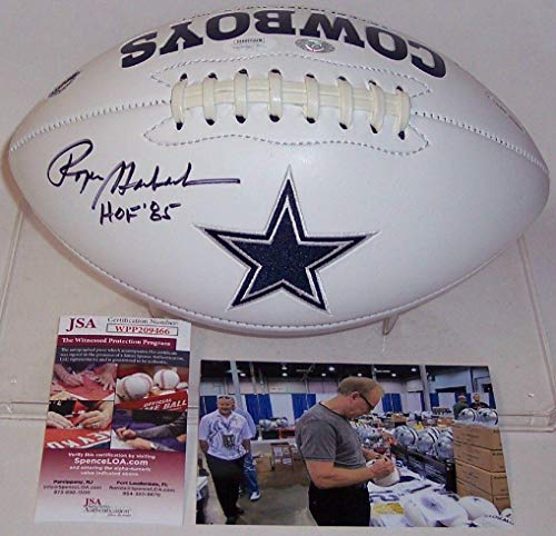 (Signed Roger Staubach Football - Logo - JSA Certified - Autographed Footballs)