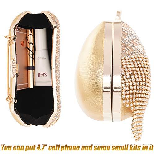 Handbag Gold Shoulder Rhinstone 3 Frame Women Bag Retro Evening Clutch Metal Bags Purse wCxTq1Pz