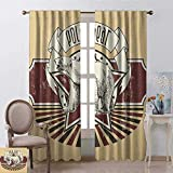 youpinnong Animal, Curtains Printed, Vintage Retro Polar Bear Label with Bold Stripes Artwork Image, Curtains for Kitchen Windows, W72 x L96 Inch, Peach White Black and Burgundy
