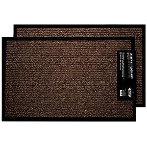 2-Pack Indoor Outdoor Floor Mats for Entryway, 17″ x 29.5″ Non Slip Rubber Grip Indoor Outdoor Mat, Brown Entry Way Mat, Entrance Door Mat with Rubber Backing, Ribbed Front Door Rug, Dirt Trapper Rug