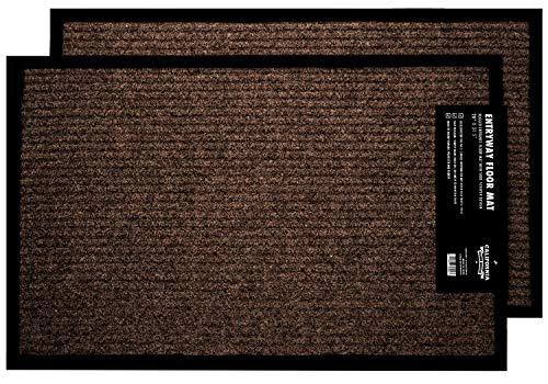 2-Pack Durable Floor Mats for Homes, Apartments, RVs, and More, 17'x29.5 Brown Area Rugs, Indoor Outdoor Mats for Front Door, Kitchen, Garage, etc. 100% Safe, Anti Dirt, Anti Slip Door Mats