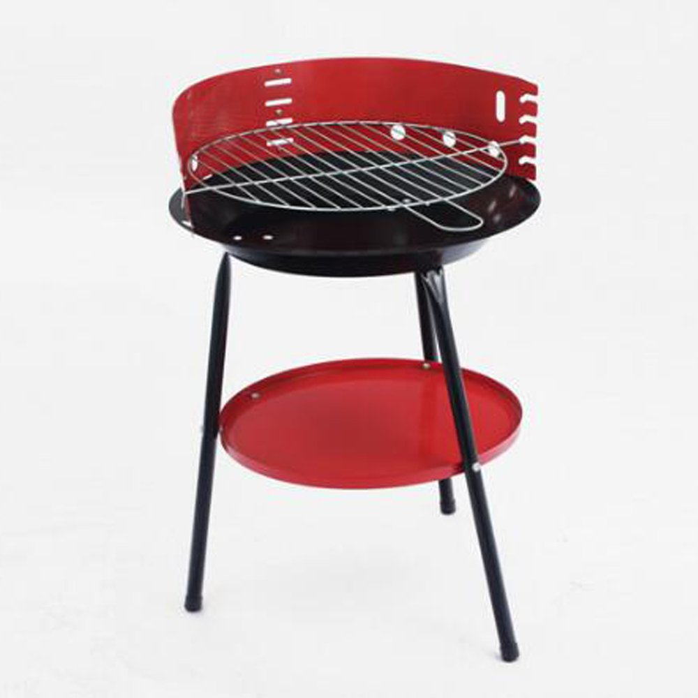 Crystals Portable Charcoal Round Barbecue Grill for Garden Party Picnic Camping BBQ Cooking by