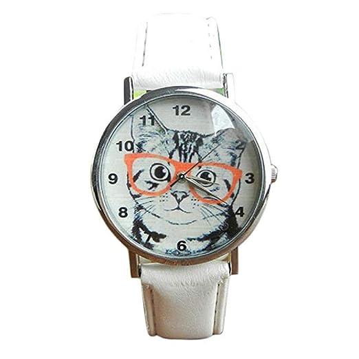 El Reloj Femenino del Cuarzo del Reloj del Gato del Cuarzo analiza los Relojes de señora en el Reloj de Cuero de la Venta (Blanco): Amazon.es: Relojes