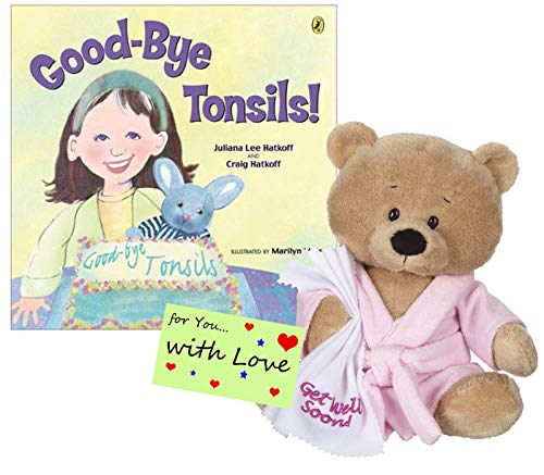 Ganz Get Well Soon Teddy Bear with a Pink Robe, Blankie for Girls with Good-Bye Tonsils Book Gift -