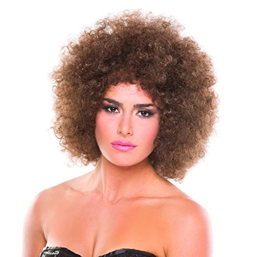 Brown Solid Color Foxy Afro Wig]()