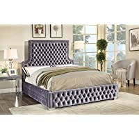 Meridian Furniture SedonaGrey-Q Sedona Velvet Upholstered Bed with Deep Button Tufting and Custom Chrome Legs, Queen, Grey