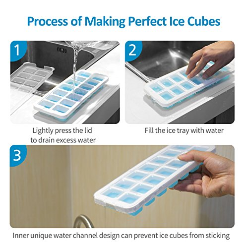 OMorc Ice Cube Trays 4 Pack [Upgraded Version], Easy-Release Silicone and Flexible 14-Ice Trays with Unique Removable Lid, Make Larger Ice Cubes, BPA Free, Stackable Durable and Dishwasher Safe by OMORC (Image #4)