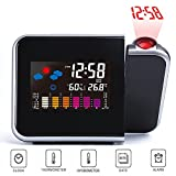 XFUNY Projection Alarm Clock with Calendar Weather Station Forecast Temperature Humidity LCD Digital Alarm Desk Projection