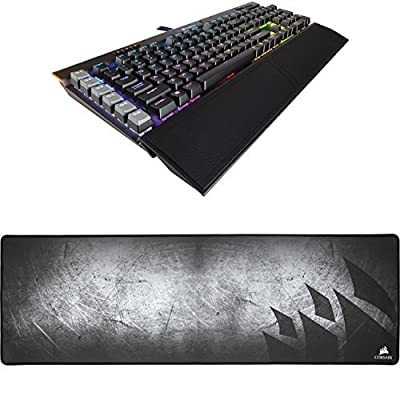 CORSAIR K95 RGB PLATINUM Mechanical Gaming Keyboard - USB Passthrough & Media Controls - Fastest Cherry MX Speed - RGB LED Backlit - Aluminum Finish and CORSAIR MM300 - Extended Mouse Mat