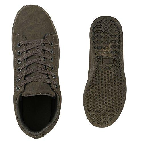 Stiefelparadies Damen Sneaker Low Glitzer Metallic Schuhe Gesteppte Sneakers Turnschuhe Denim Sportschuhe Schnürer Lack Flats Schnürschuhe Freizeitschuhe Flandell Dunkelgrã¼N