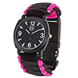Survival Watch V3 | Ultimate Emergency Survival Gear | Features Military Grade Paracord, Compass, Whistle, & Fire Starter | Water Resistant | Adjustable Paracord Band | 4 Colors (Pink)