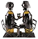 Couple Wine Bottle Holder by Clever Creations | Premium Metal Design Easily Fits 2 Bottles | Decorative Design | Great Gift Basket for Your Favorite Wine | Wide Stable Base
