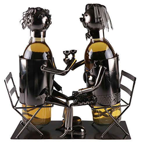 Clever Creations Couple Wine Bottle Holder Premium Metal Design Easily Fits 2 Bottles | Decorative Design | Great Gift Basket for Your Favorite Wine | Wide Stable Base