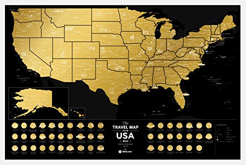 Premium Scratch Off US Map - 60 x 40 cm - Places I've Been USA Travel Map - Great Scratchable US Map Gift For Any Traveler - Made From Durable Flexible Plastic to Last Longer by 1DEA.me