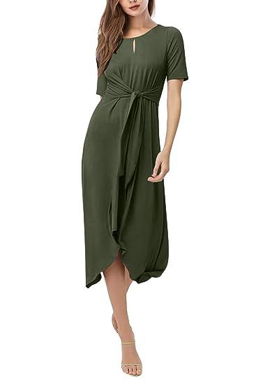 14a82fd3a2da4 Yidarton Women's Summer Short Sleeve Dresses Front Tie High Low Casual Midi  Dress with Belt