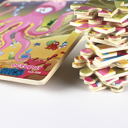 Meshion Wooden Jigsaw Puzzles With Storage Tray Ocean Set Kids Toys Preschool Learning Game For 3-5 Years Old Child,Boys,Girls,Pack Of 6(Mermaid,Octopus,Shark,Starfish,Dolphin,Lobster) by Meshion (Image #3)