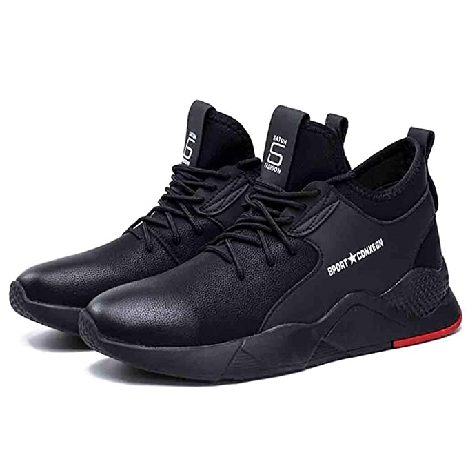 Amazon.com: Sharemen Running Shoes Mens Sports Waterproof Pu Solid Color Casual Shoes(Black,US:9.5): Clothing
