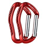 XINDA Nonlocking Climbing Carabiner Clip - Climbing Slings and Quickdraw Set, Straight Gate and Bent Gate Keylock Carabiner for Camping, Rappelling, Mountaineering, Caving (2 Pack Red Straight Gate)