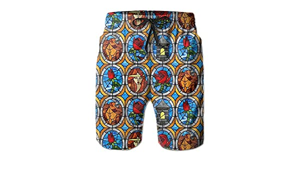FASUWAVE Mens Swim Trunks Colorful Bulb Quick Dry Beach Board Shorts with Mesh Lining