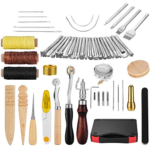 (Joypea Leather Craft Hand Tools Kit 59 Pieces for DIY Hand Sewing Leather Artwork Stitching Stamping Set and Saddle Making)