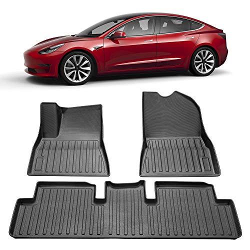 SUMK 3D Complete Set Custom Fit All-Weather Floor Mats for Tesla Model 3 2017, 2018, 2019 Black (3 Piece a Set)