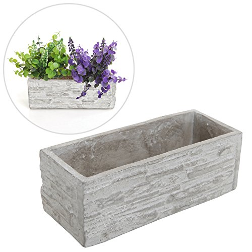 Gray Cement Rectangular Succulent Plant Flower Pot / Decorative Kitchen Herb Garden Planter Container (Decorative Outdoor Plant Pots)