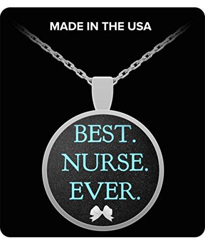 Nursing Themed Gifts - BEST. NURSE. EVER. - Blue Pendant Nurse Gift - Necklace Jewelry