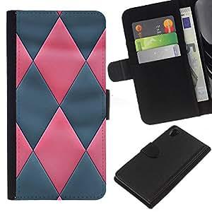 SONY Xperia Z2 / D6502 / L50 Modelo colorido cuero carpeta tirón caso cubierta piel Holster Funda protección - Pink Grey 3D Leather Pattern