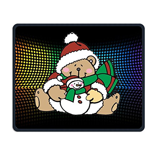 (Center Pad Cute Teddy Bears Dressed For Christmas Nice Personality Design Mobile Gaming Mouse Pad)