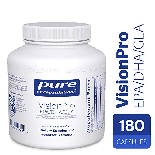 Pure Encapsulations - VisionPro EPA/DHA/GLA - Dietary Supplement to Support Natural Tear Production and Retention of Eye Moisture* - 180 Softgel Capsules