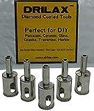 Drilax 3/4 inch Diamond Coated Drill Bit Hole Saw 5 Pieces Set Kitchen Bathroom Shower Faucet Ro Filter Drilling Tool Ceramic Porcelain Tiles Glass Fish Tanks Marble Granite Quartz Holesaw