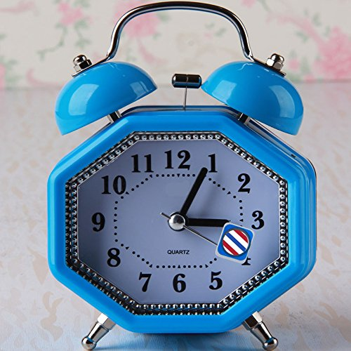 YOIL for Children Lovely Silent Polygonal Alarm Clock with Night Light for Kids Children Students (Blue)