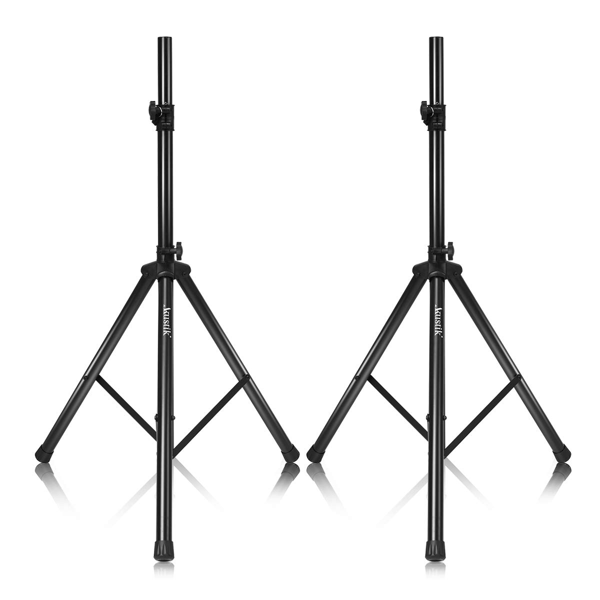 AKUSTIK Speaker Stand with Adjustable Height 37.5''-75'', 150lbs Weight Capacity, Safety Locking Knob & PIN, 35MM Compatible Insert, Universal DJ PA Tripod Stand (37.5''-75'' (x Pair))