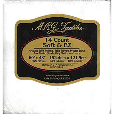 "M C G Textiles 56304 14 Count Soft & EZ Aida Craft Fabric, 48"" x 60"", White by M C G Textiles"