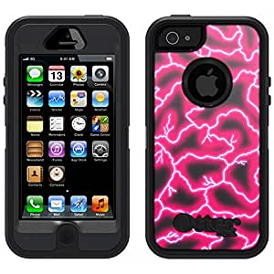 Skin Decal for Otterbox Defender iPhone 5 Case - Red Lighting on Black