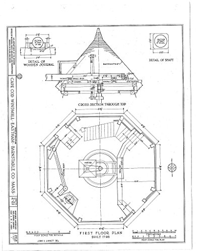 - Historic Pictoric Blueprint Diagram HABS Mass,1-East,1- (Sheet 1 of 5) - Cape Cod Windmill, Samoset Road (Moved from Plymouth to Truro to Eastham, MA), Eastham, Barnstable County, MA 11in x 14in