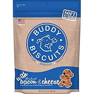 Buddy Biscuits Soft & Chewy Healthy Dog Treats with Bacon & Cheese – 20 oz.