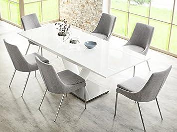 Vasco Dining Table Set Pedestal Table White High Gloss 160 220 X90x77 Cm 6x Alia Dining Chair Grey Amazon De Kuche Haushalt