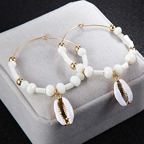 AIUSD Clearance , Women Exaggerated Personality Big Circle Rice Beads Shell Pendant Alloy Earrings Jewelry